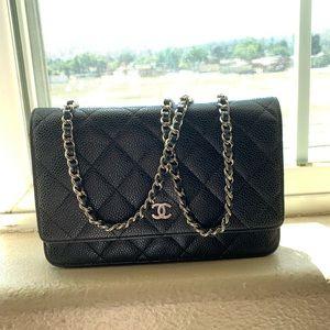 Chanel black caviar WOC w/ silver HW